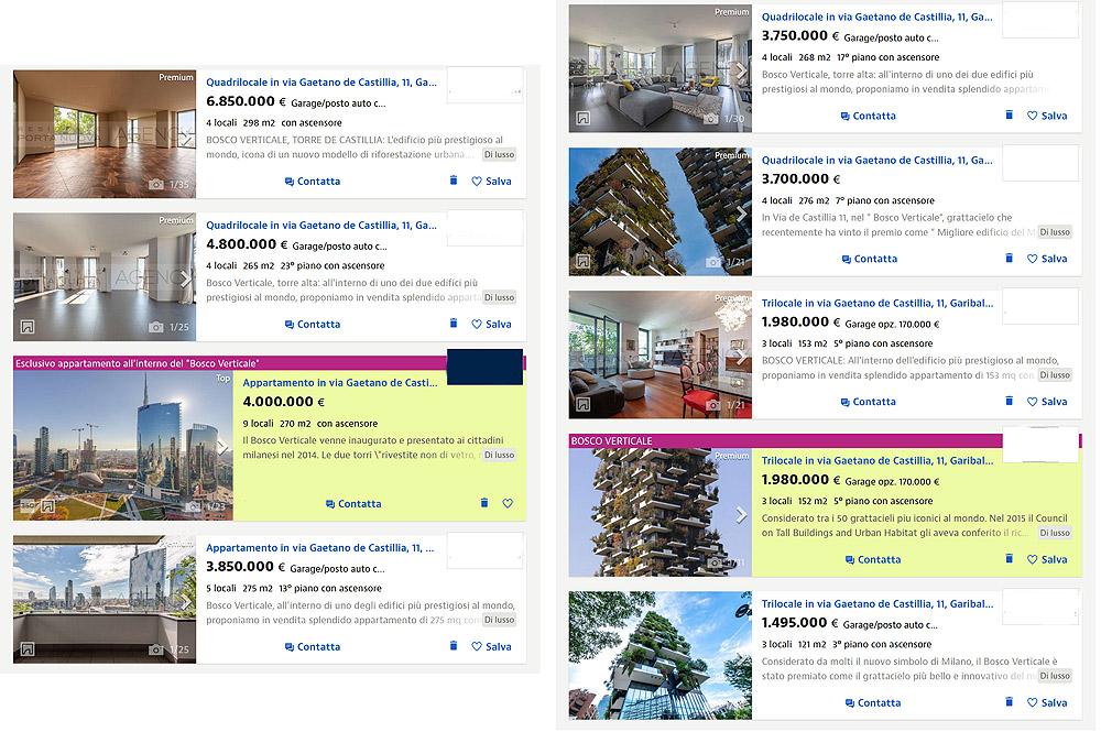 annunci immobiliari con prezzi sul Bosco verticale